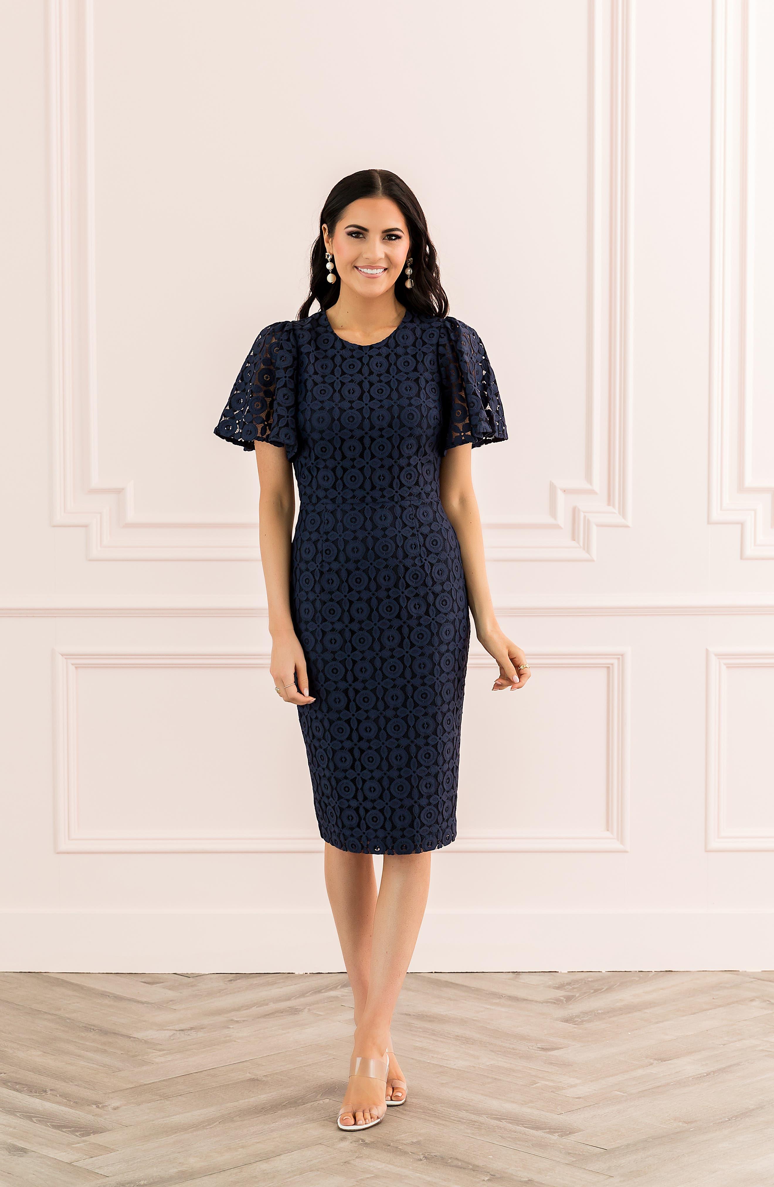 ,                             Flutter Sleeve Lace Sheath Dress,                             Alternate thumbnail 8, color,                             NAVY PEACOAT