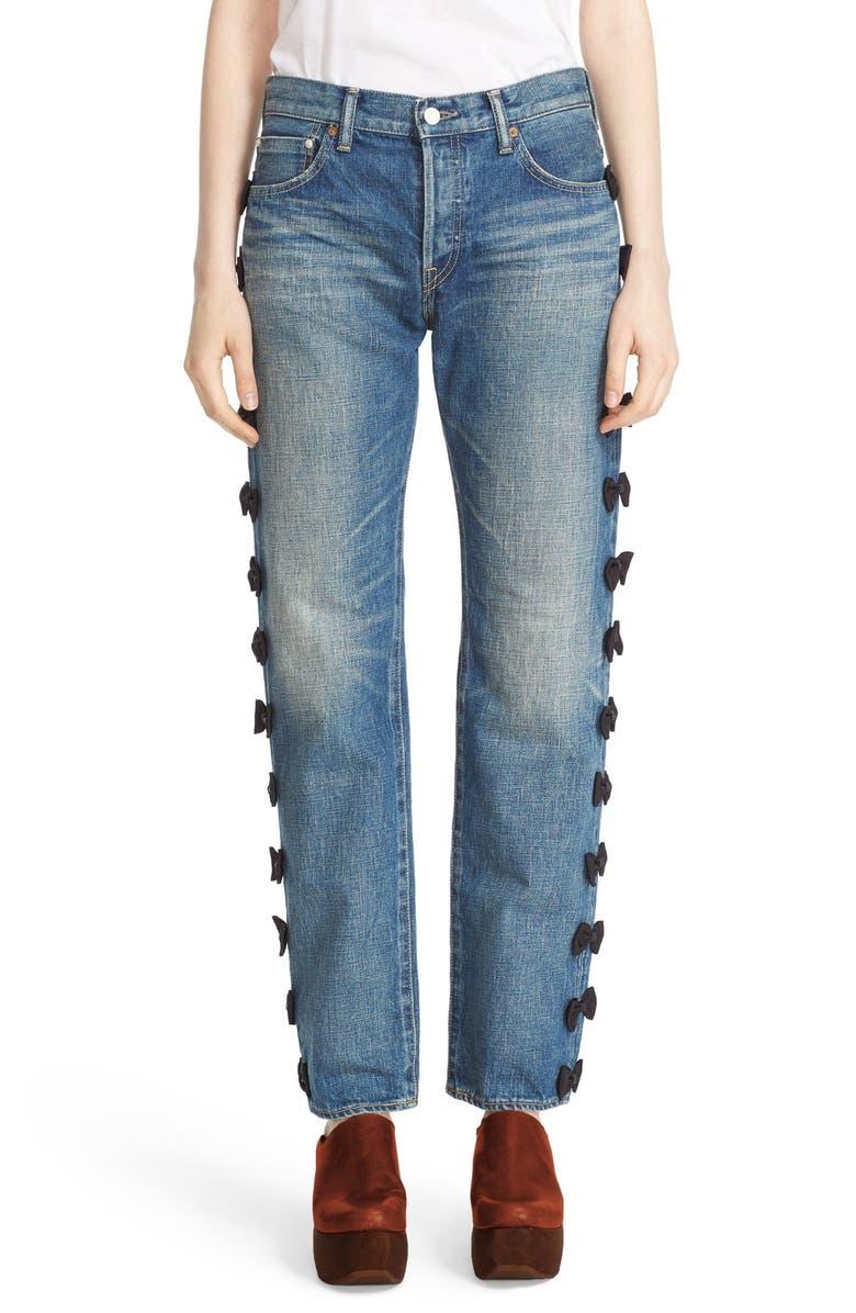 TU ES MON TRÉSOR Grosgrain Bow Embellished Jeans, Main, color, 001
