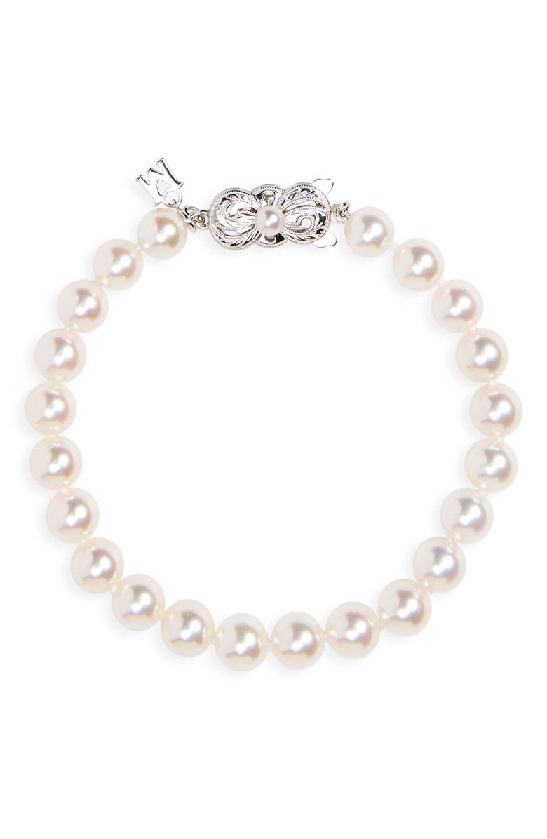 MIKIMOTO Every Essentials Cultured Pearl Bracelet, Main, color, WHITE GOLD