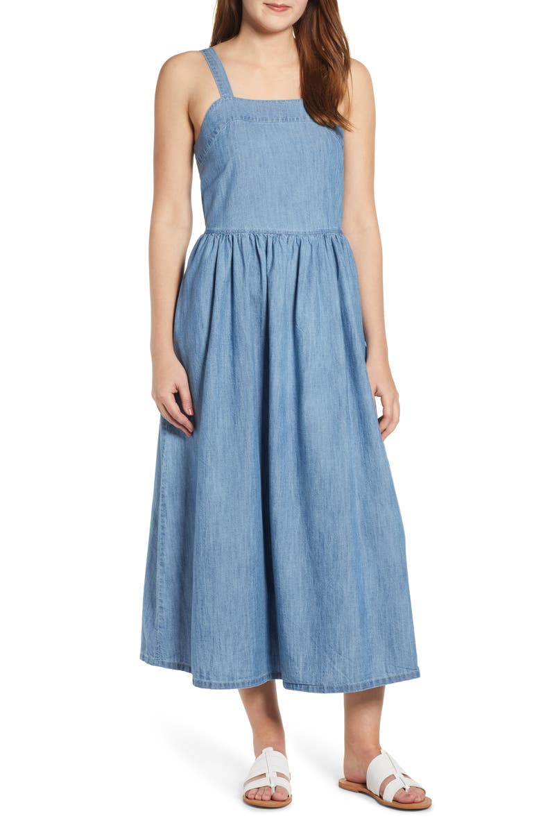 CASLON<SUP>®</SUP> Midi Sundress, Main, color, LIGHT CHAMBRAY