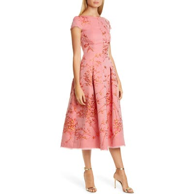 Talbot Runhof Silk Jacquard Twig Fit & Flare Midi Dress, Orange