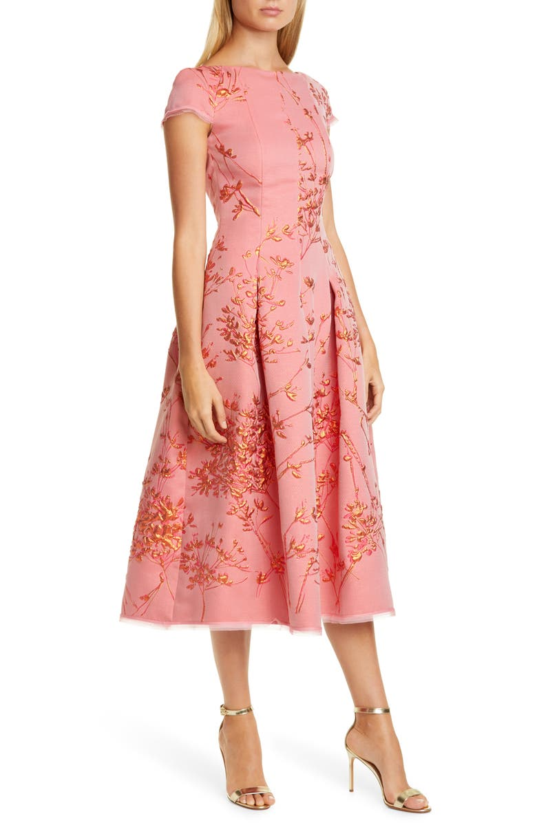 TALBOT RUNHOF Silk Jacquard Twig Fit & Flare Midi Dress, Main, color, SIENA