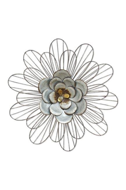 Image of Stratton Home Silver Galvanized Daisy Wall Decor