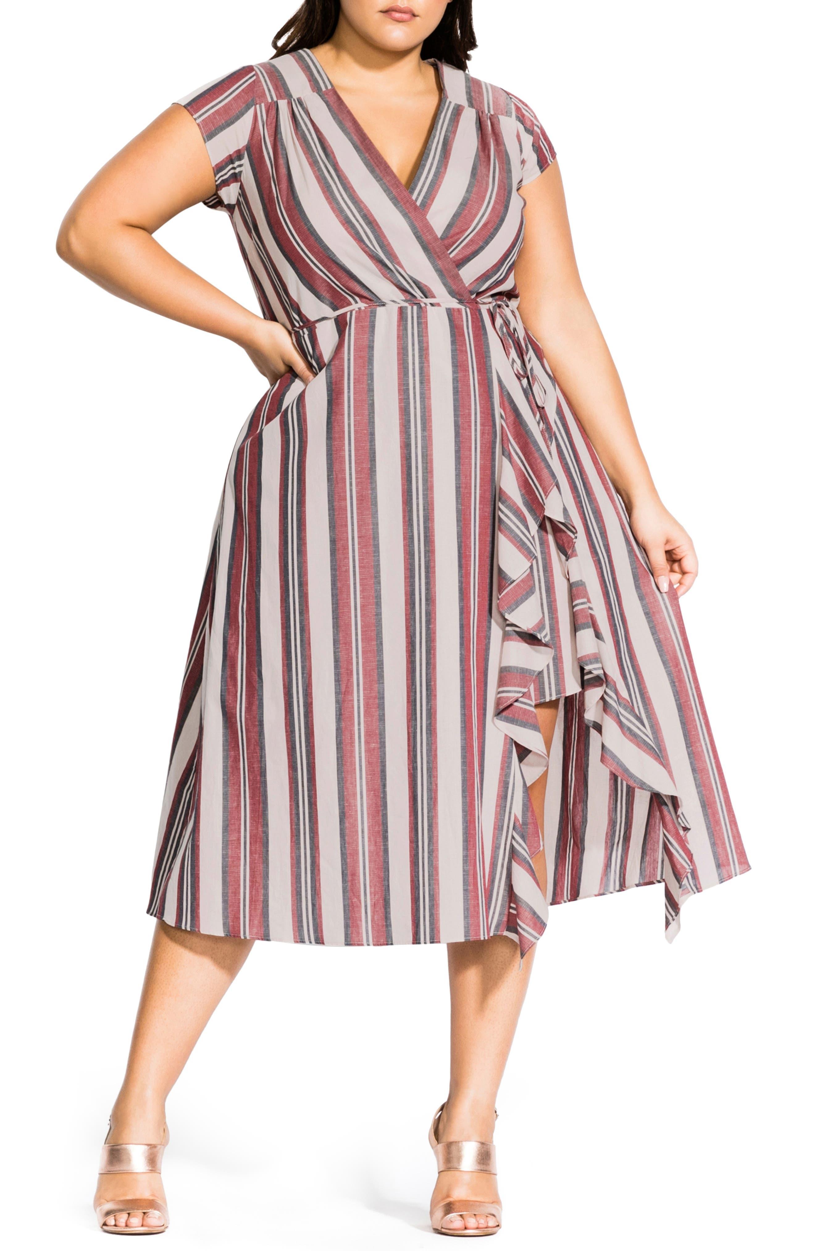 Plus Size City Chic Be Free Stripe Faux Wrap Dress, Ivory