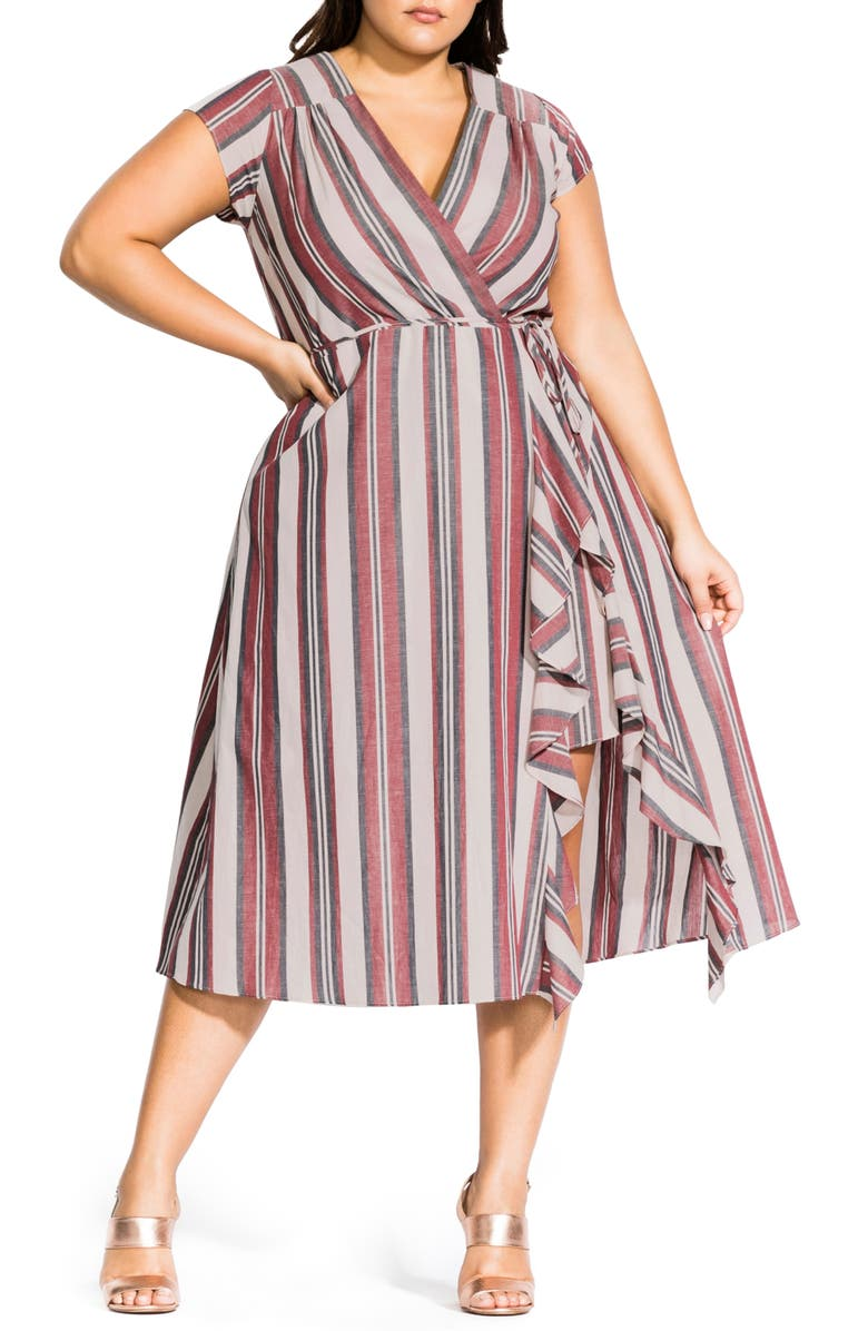 CITY CHIC Be Free Stripe Faux Wrap Dress, Main, color, SALSA STRIPE