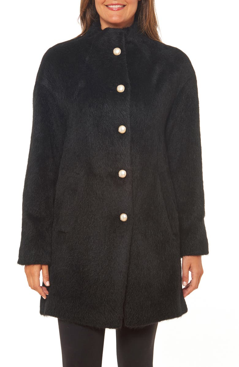 KATE SPADE NEW YORK pearly button fuzzy coat, Main, color, 001