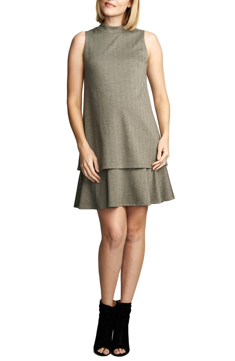 MATERNAL AMERICA 'Lucy' Maternity Dress, Main, color, HERRINGBONE