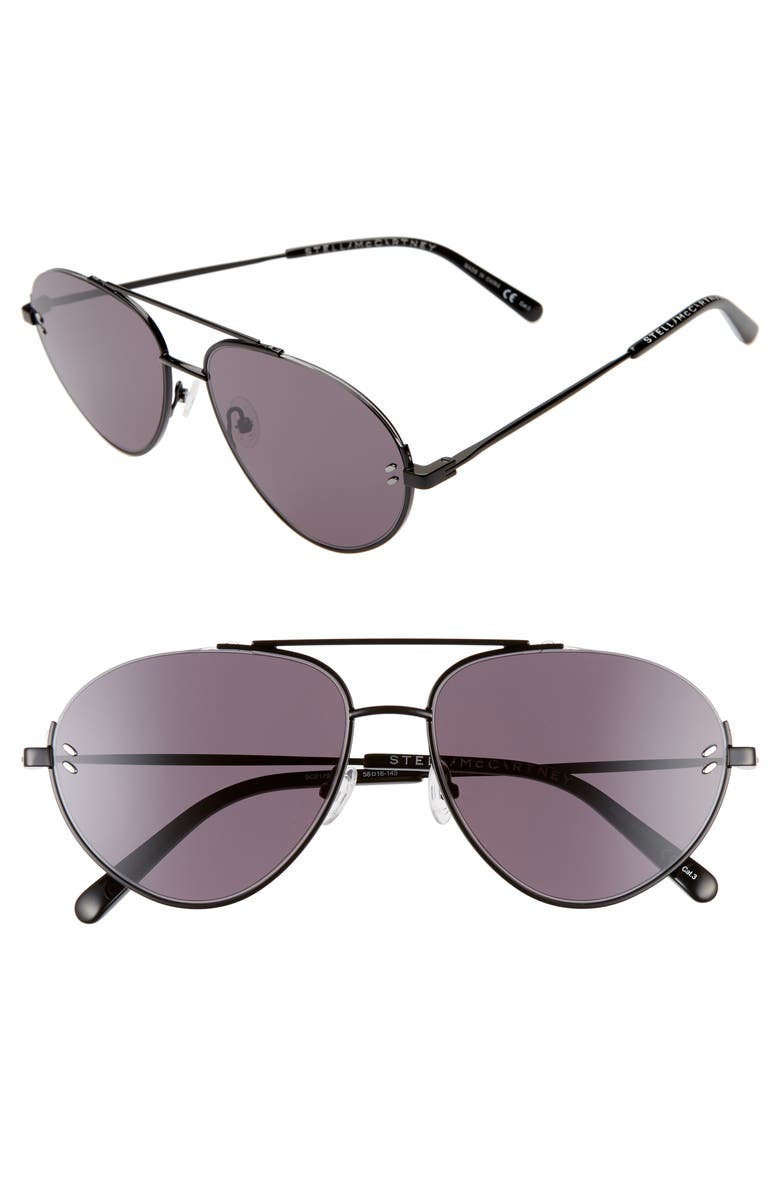 STELLA MCCARTNEY 58mm Aviator Sunglasses, Main, color, 001