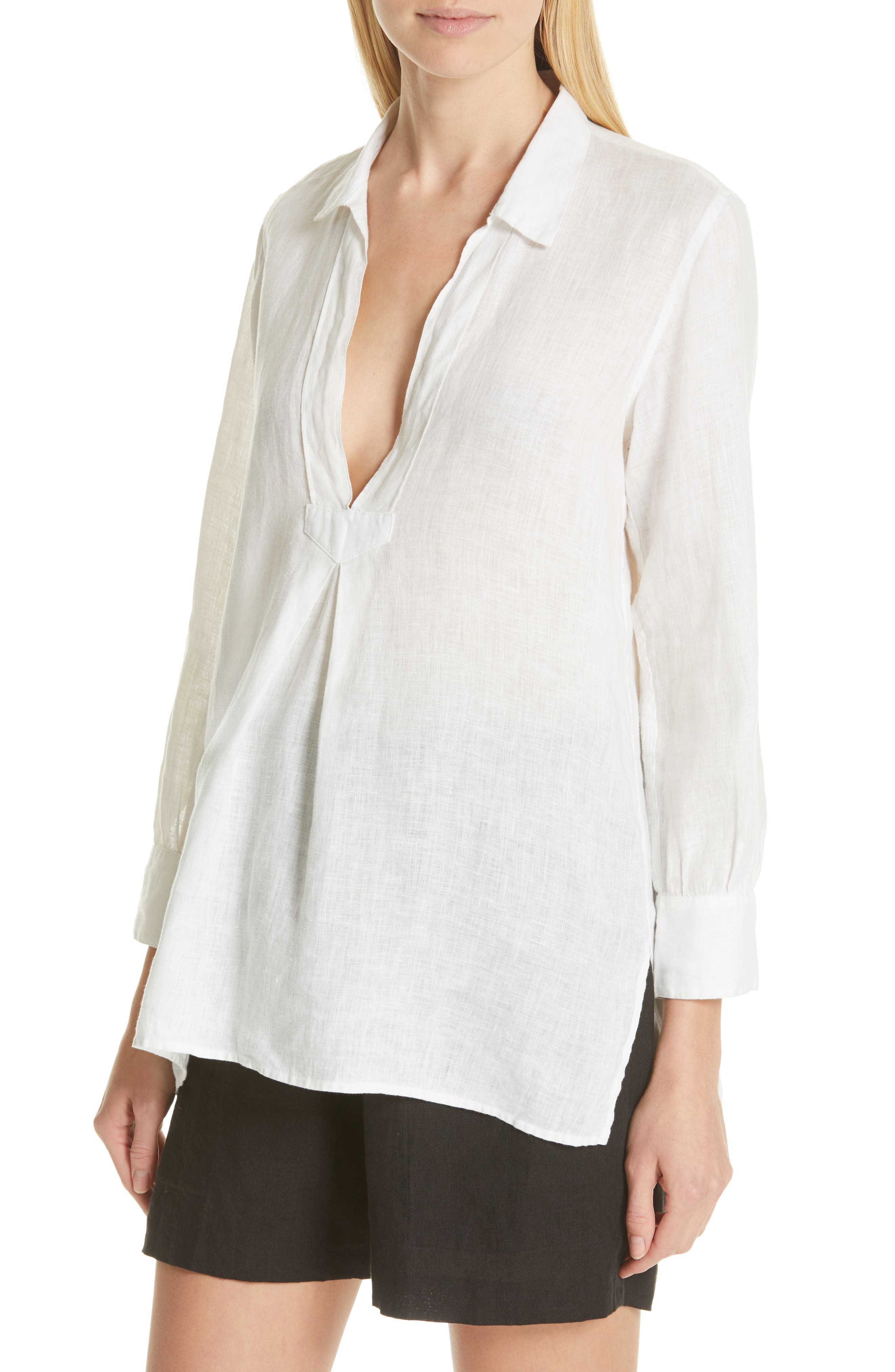 ,                             Emma Linen Shirt,                             Alternate thumbnail 4, color,                             NATURAL