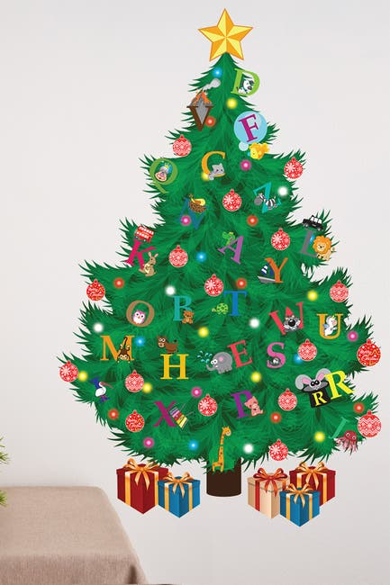 Image of WalPlus Traditional Kids Alphabet Christmas Tree Multicolor Decal