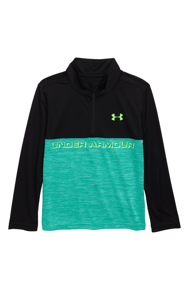 UNDER ARMOUR Twisted Half Zip Pullover, Main, color, BLACK