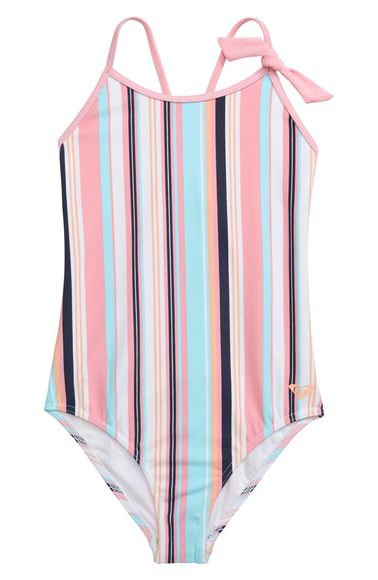 ROXY Cutty Heart One-Piece Swimsuit, Main, color, PRISM PINK BILBOA STRIPES
