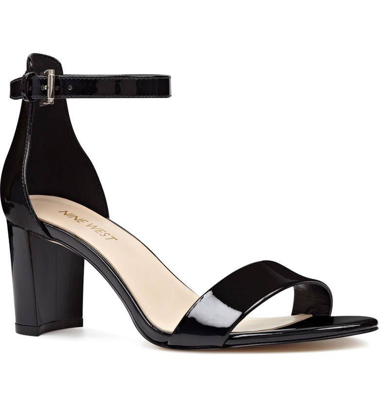 NINE WEST Pruce Ankle Strap Sandal, Main, color, BLACK PATENT