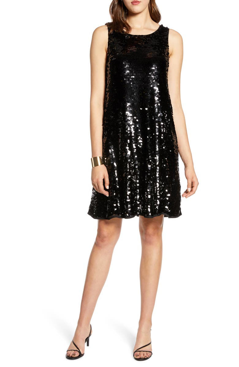 HALOGEN<SUP>®</SUP> Sleeveless Sequin A-Line Dress, Main, color, 001