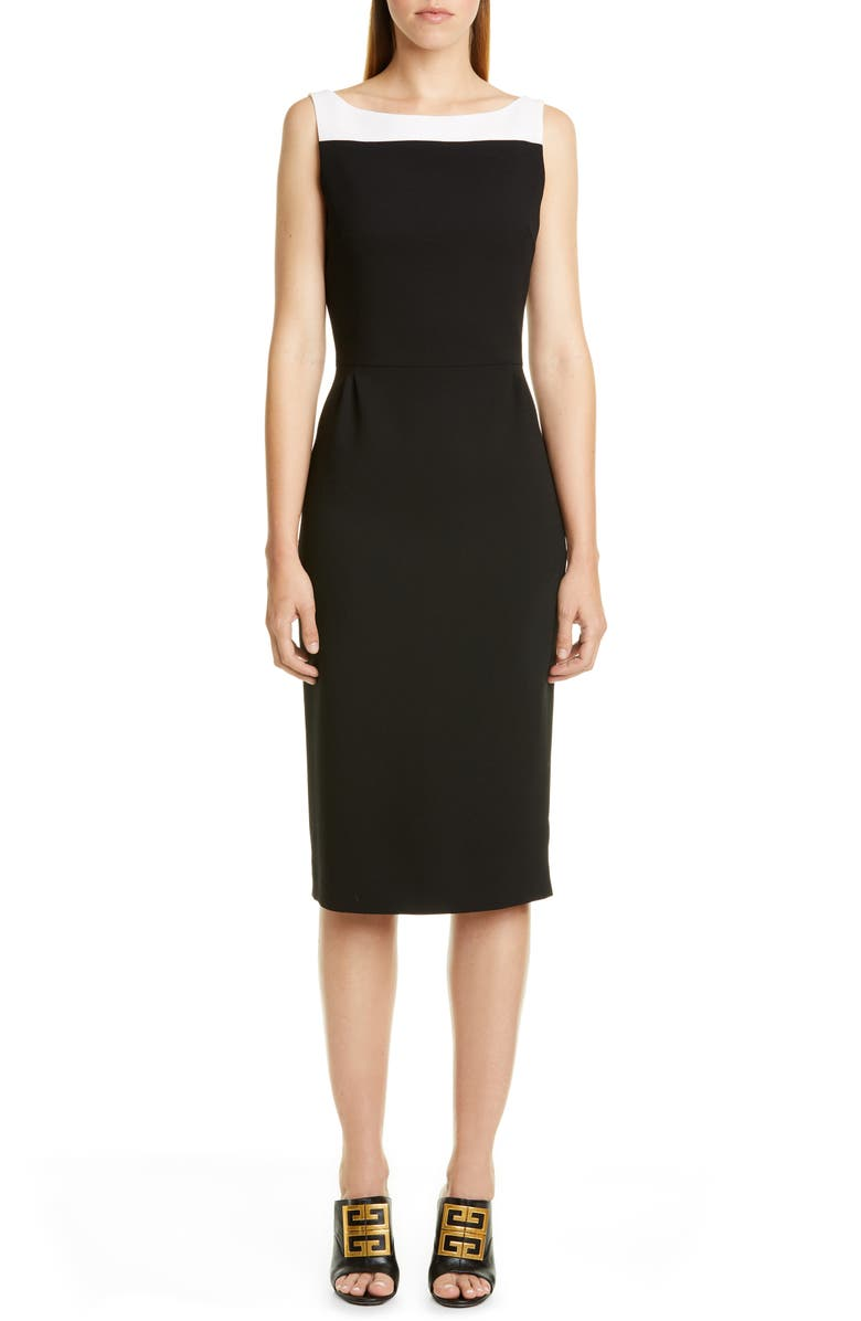 GIVENCHY Megan Bicolor Wool Midi Dress, Main, color, BLACK/ WHITE
