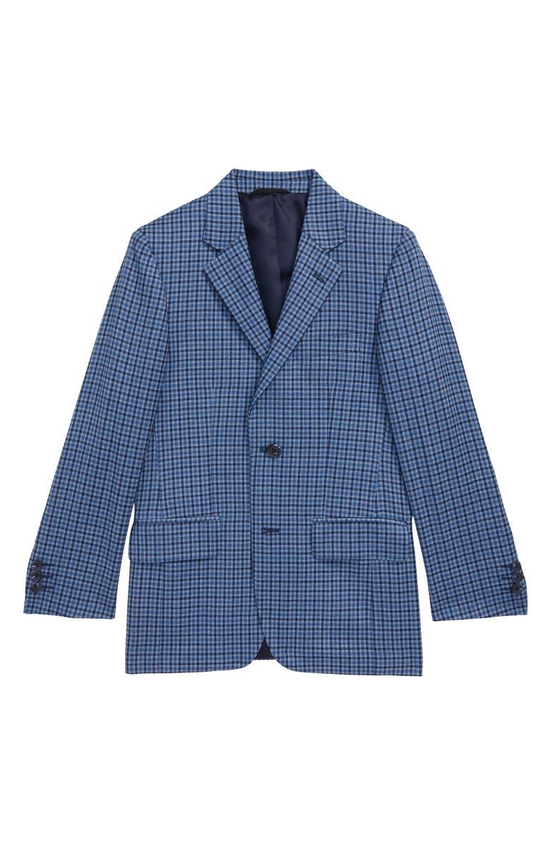 JB JR. JB Jr Plaid Sports Coat, Main, color, BLUE