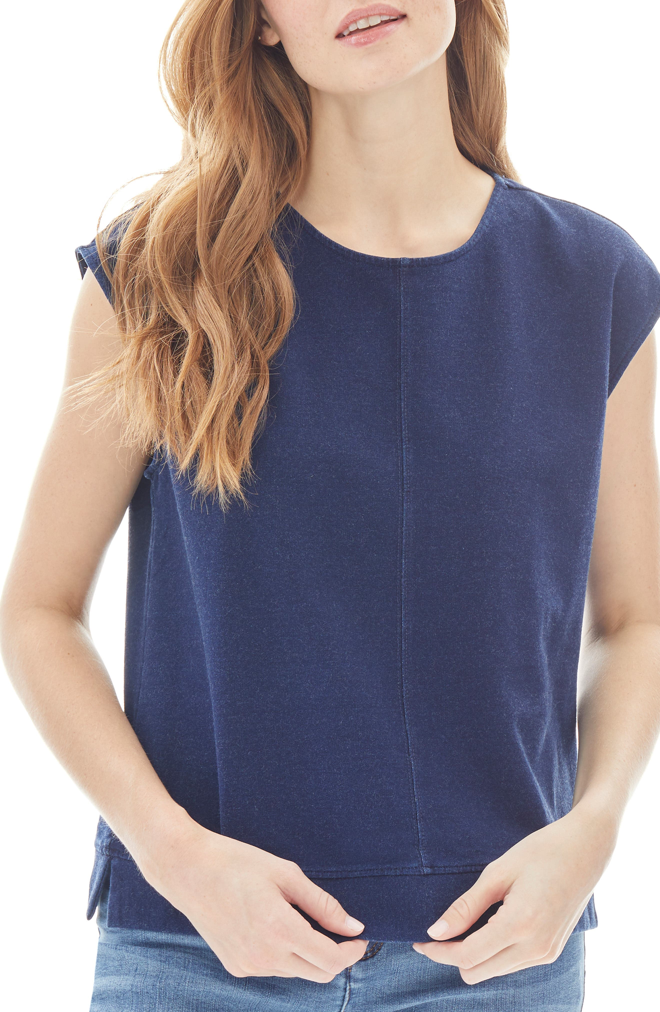 Cap Sleeve Cotton Blend Knit Top