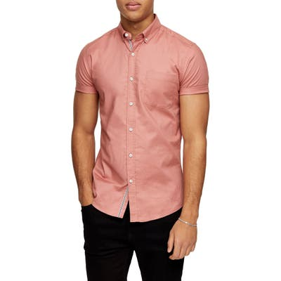 Topman Short Sleeve Button-Down Stretch Oxford Shirt, Pink