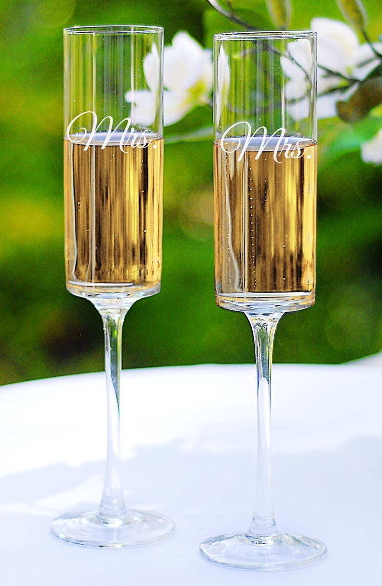 CATHY'S CONCEPTS 'For the Couple' Etched Contemporary Champagne Flutes, Main, color, MRS & MRS