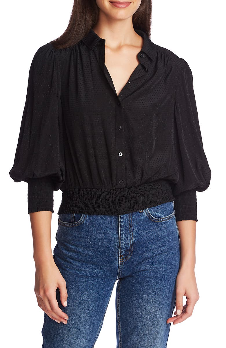 1.STATE Dot Jacquard Smocked Waist Button Front Top, Main, color, RICH BLACK