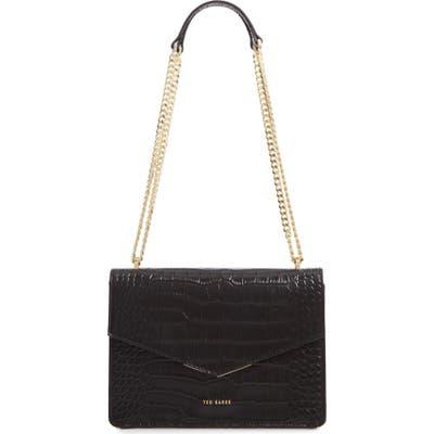 Ted Baker London Jaydaa Croc Embossed Leather Crossbody Bag - Black