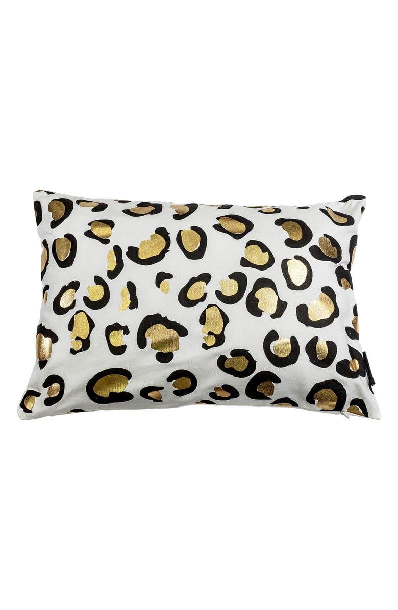 KENSIE Metallic Animal Print Pillow, Main, color, WHITE/ GOLD MULTI