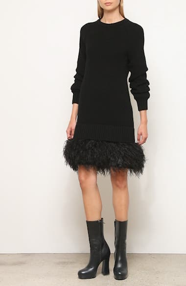 Cashmere Sweater Dress with Feather Hem, video thumbnail