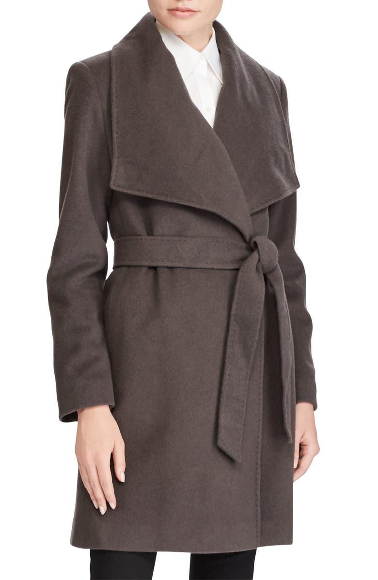 LAUREN RALPH LAUREN Cashmere & Wool Wrap Coat, Main, color, SMOKE