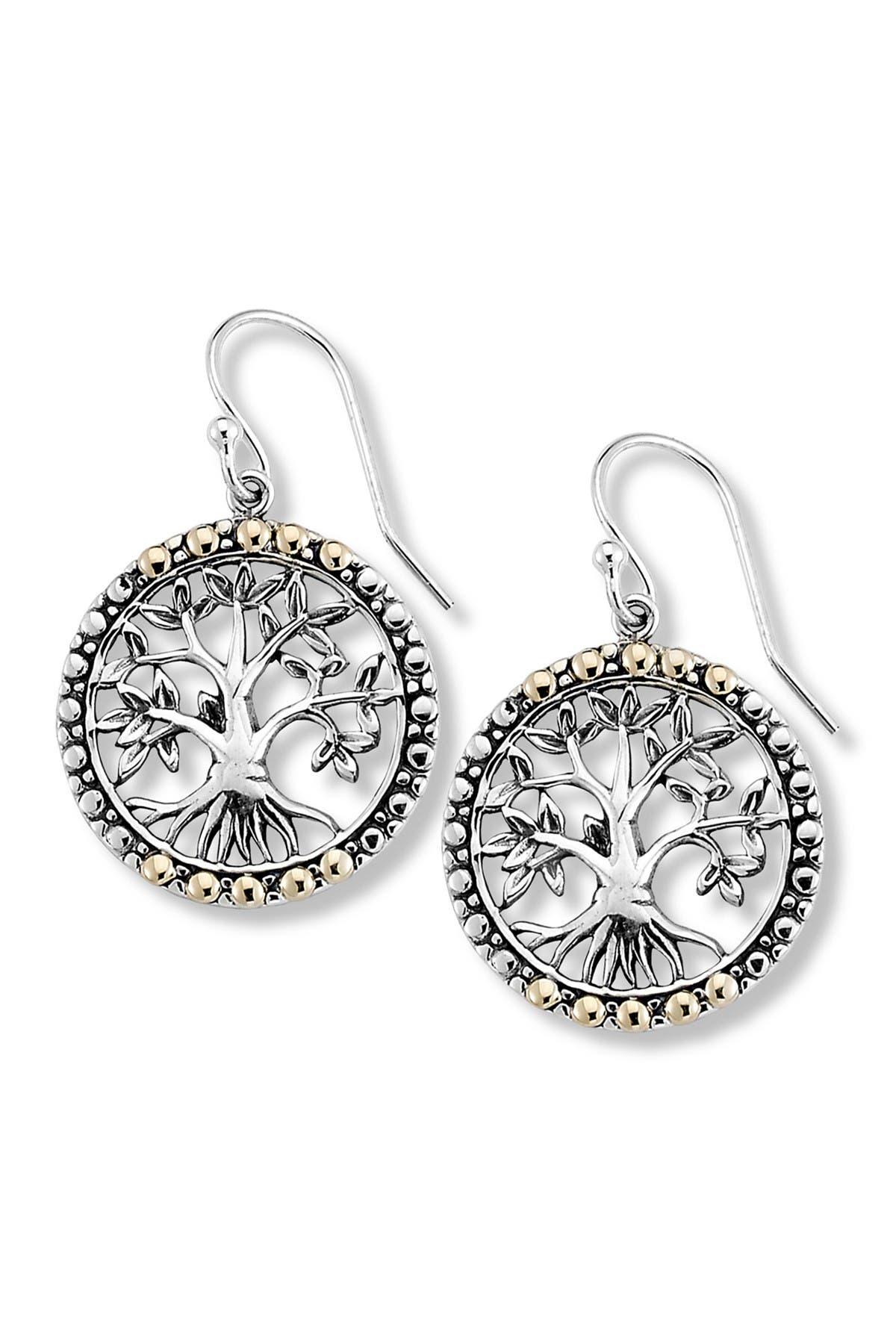 Image of Samuel B Jewelry Sterling Silver & 18K Gold Tree of Life Earrings