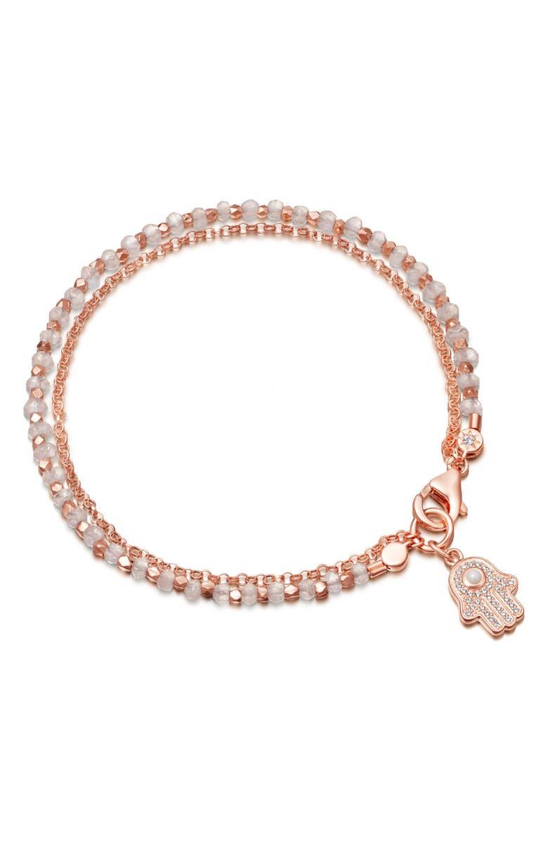 ASTLEY CLARKE Rainbow Moonstone Hamsa Biography Bracelet, Main, color, ROSE GOLD