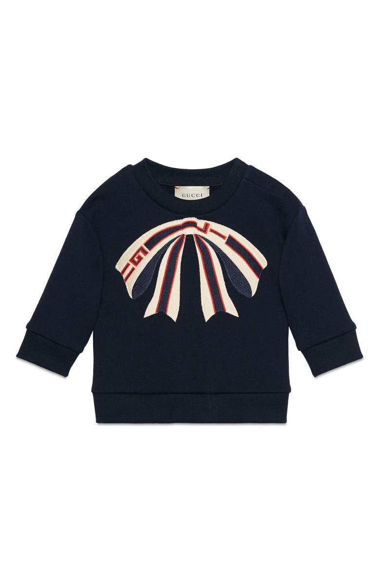 GUCCI Bow Appliqué Sweatshirt, Main, color, 484