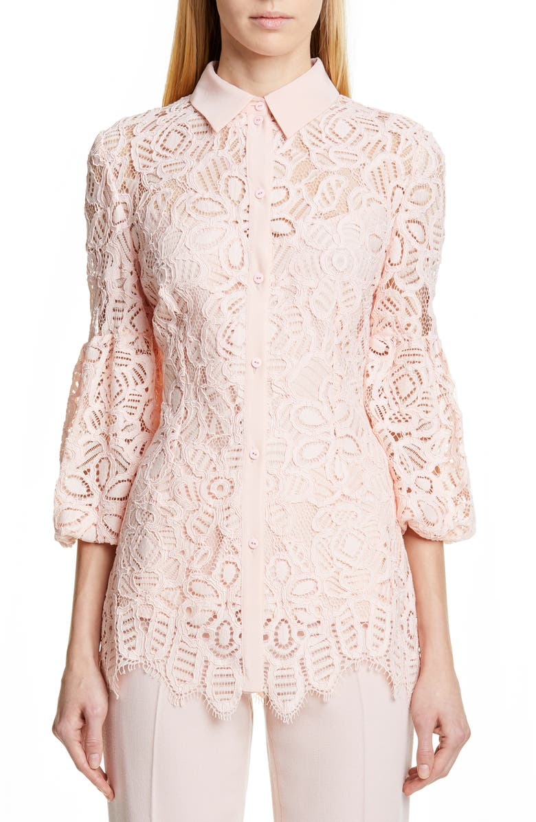 LELA ROSE Puff Sleeve Lace Shirt, Main, color, BLUSH