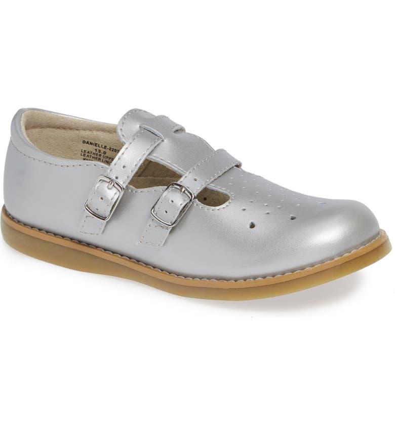 FOOTMATES Danielle Double Strap Shoe, Main, color, SILVER