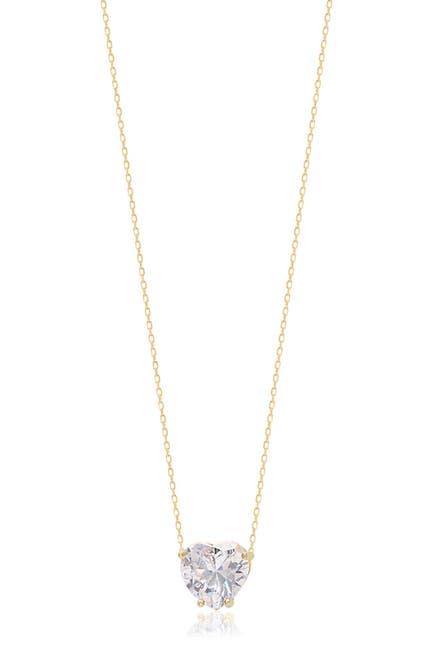 Image of Gabi Rielle 14K Yellow Gold Vermeil Heart-Cut CZ Solitaire Pendant Necklace