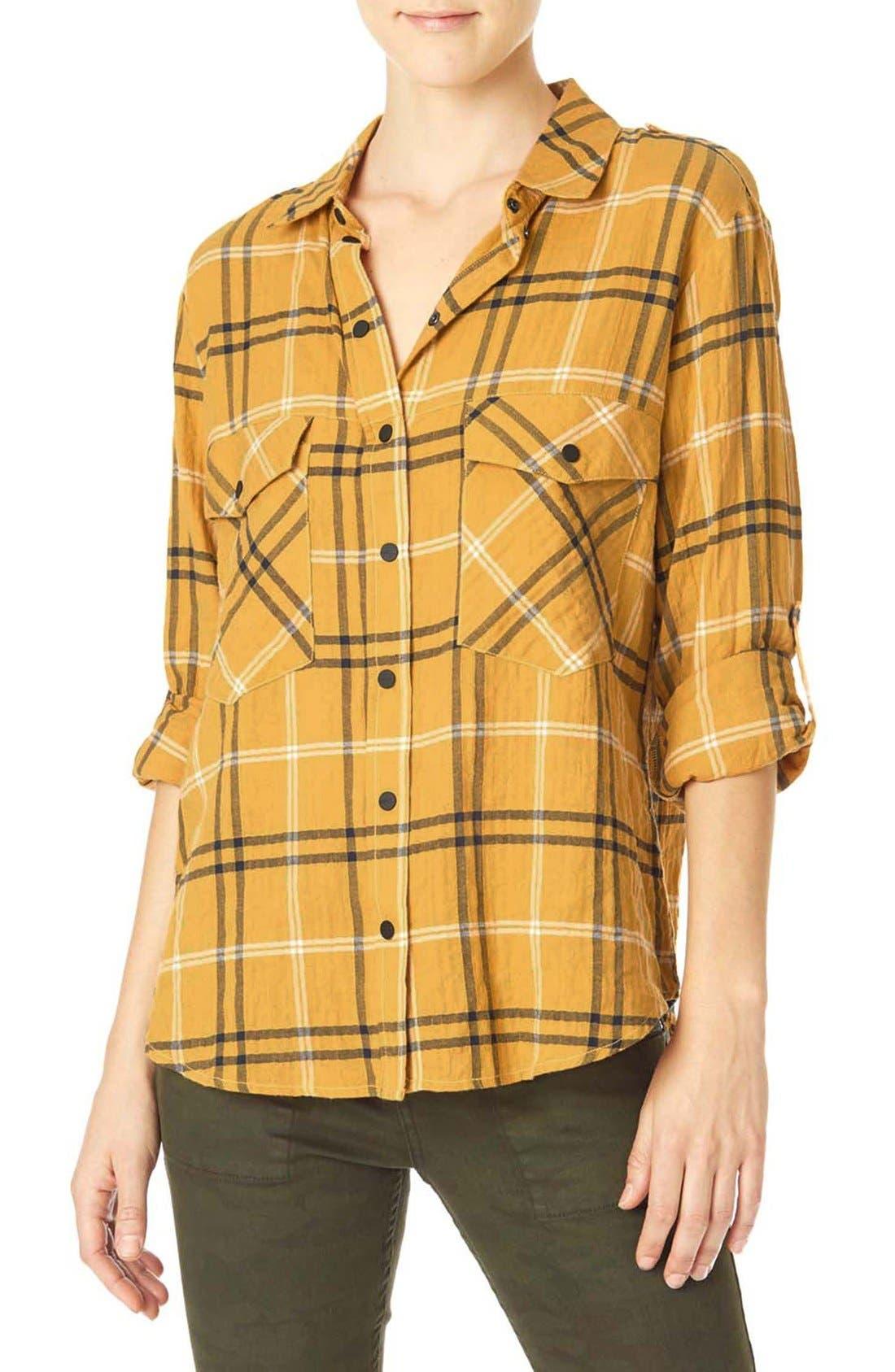,                             Plaid Flannel Boyfriend Shirt,                             Main thumbnail 16, color,                             795