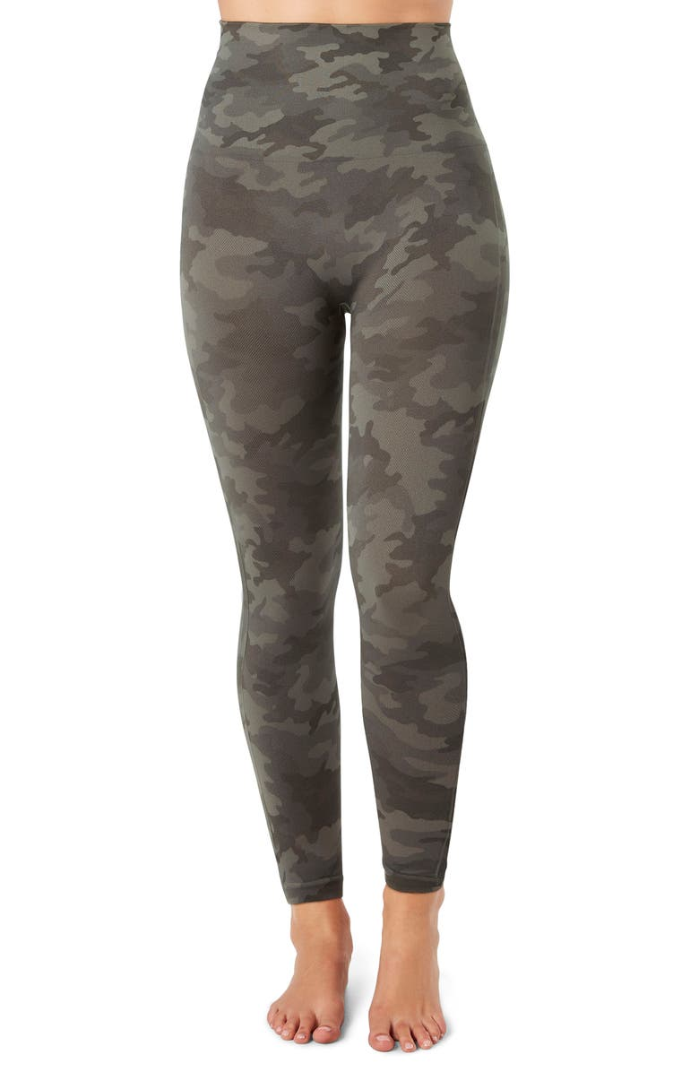 SPANX<SUP>®</SUP> SPANX Look At Me Now Crop Seamless Leggings, Main, color, SAGE CAMO
