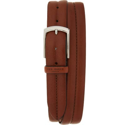 Ted Baker London Stitched Leather Belt, Tan