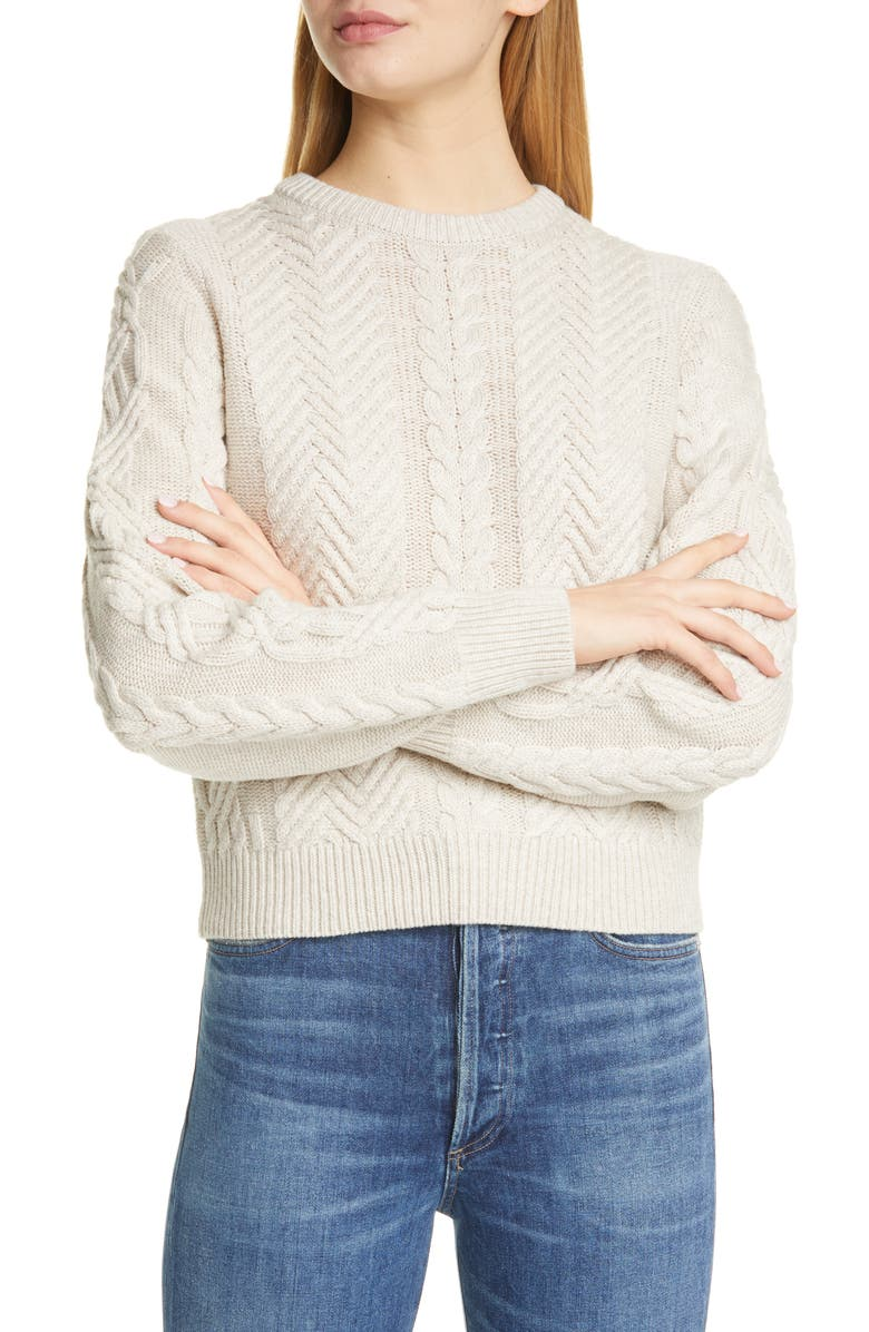 Cable Wool & Cashmere Crop Sweater by Theory