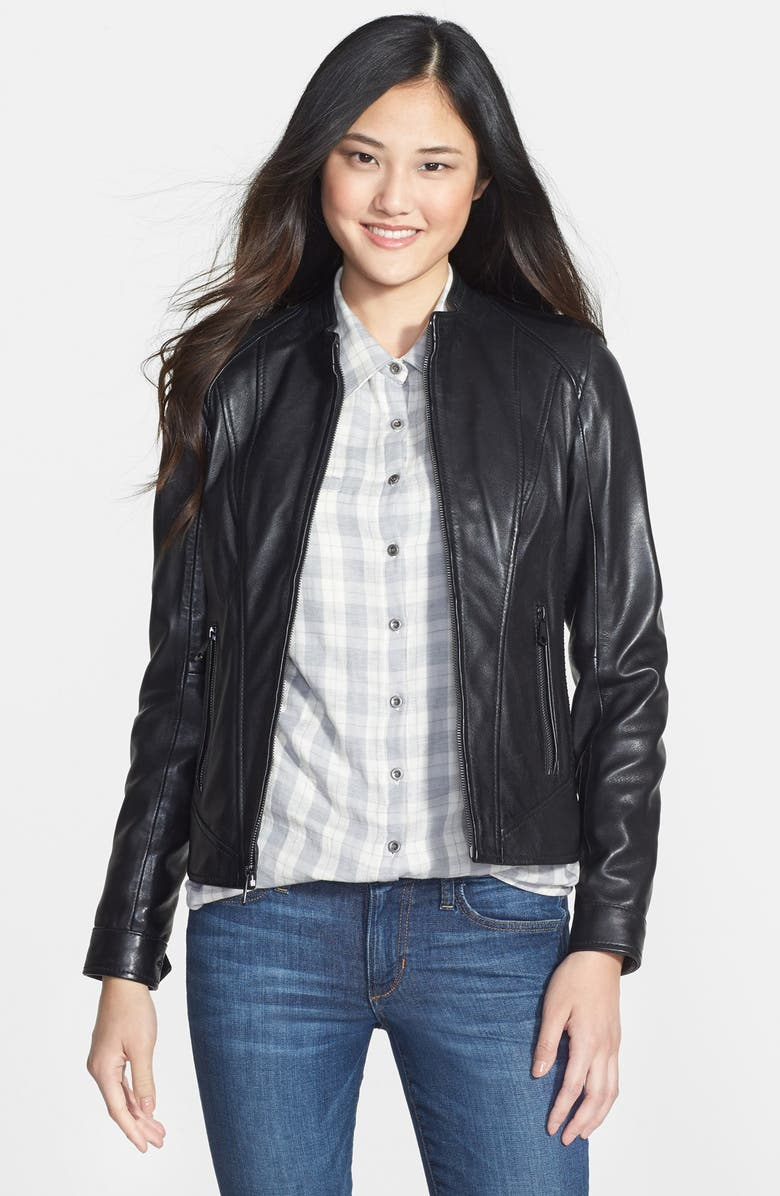 MARC NEW YORK Front Zip Leather Jacket, Main, color, 001