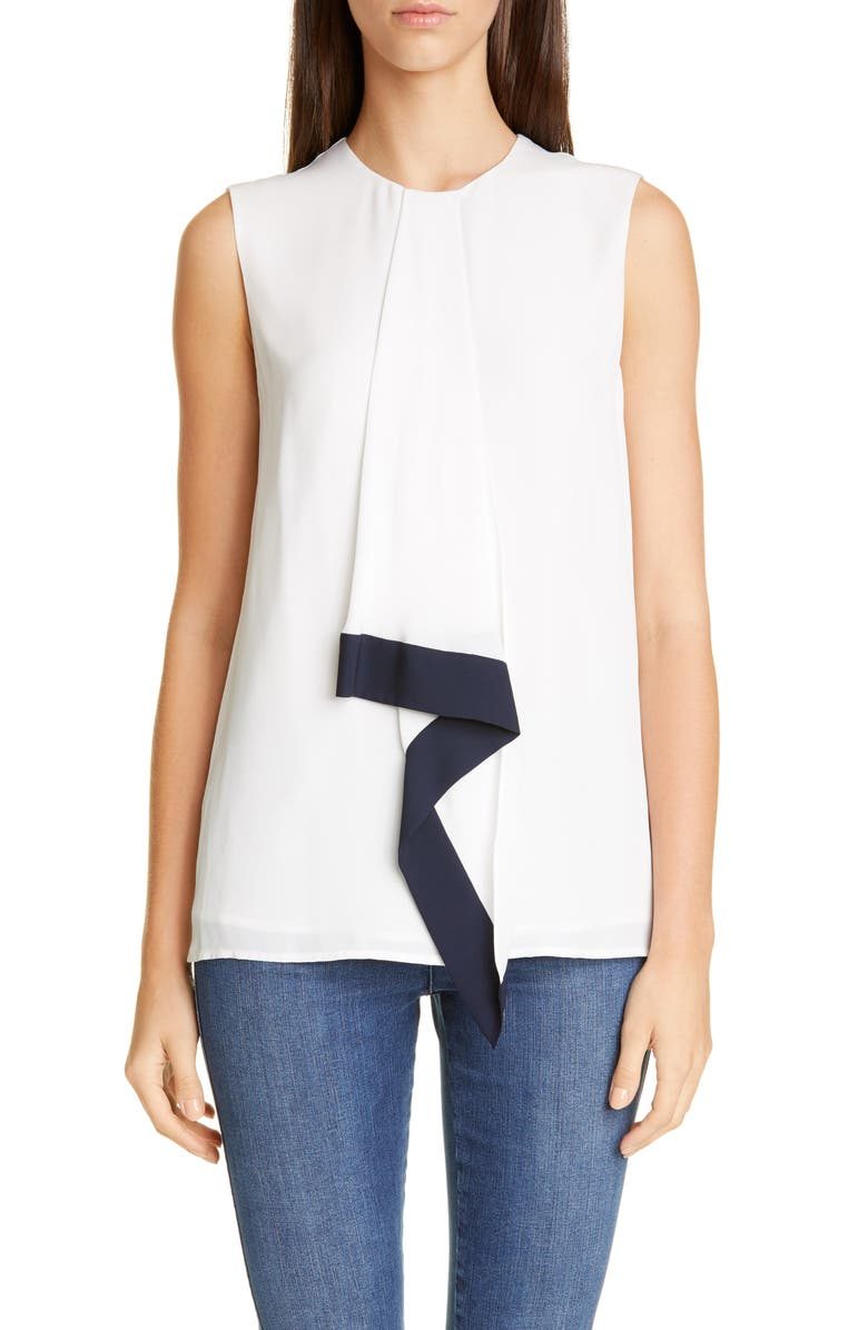 ST. JOHN COLLECTION Silk Georgette Sleeveless Blouse, Main, color, WHITE/ NAVY