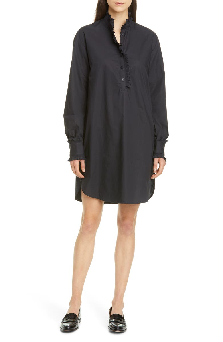 BIRGITTE HERSKIND Lady Tunika Ruffle Long Sleeve Poplin Shirtdress, Main, color, 400