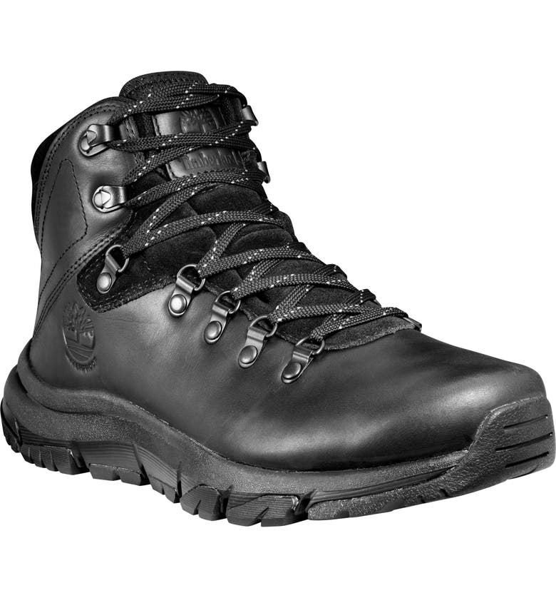 TIMBERLAND Garrison Field Waterproof Hiking Boot, Main, color, BLACKOUT FULL GRAIN
