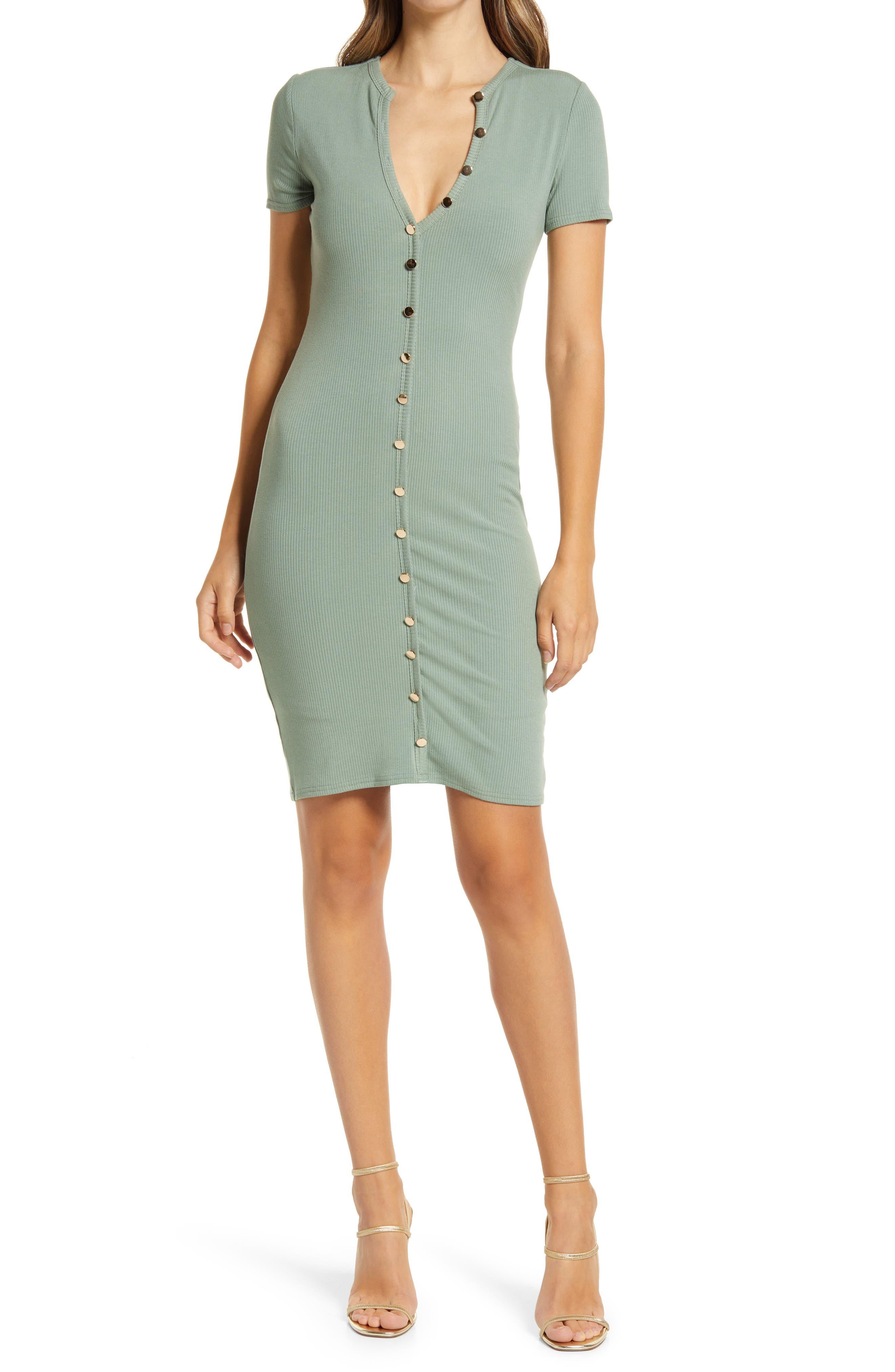 Button Front Rib Dress
