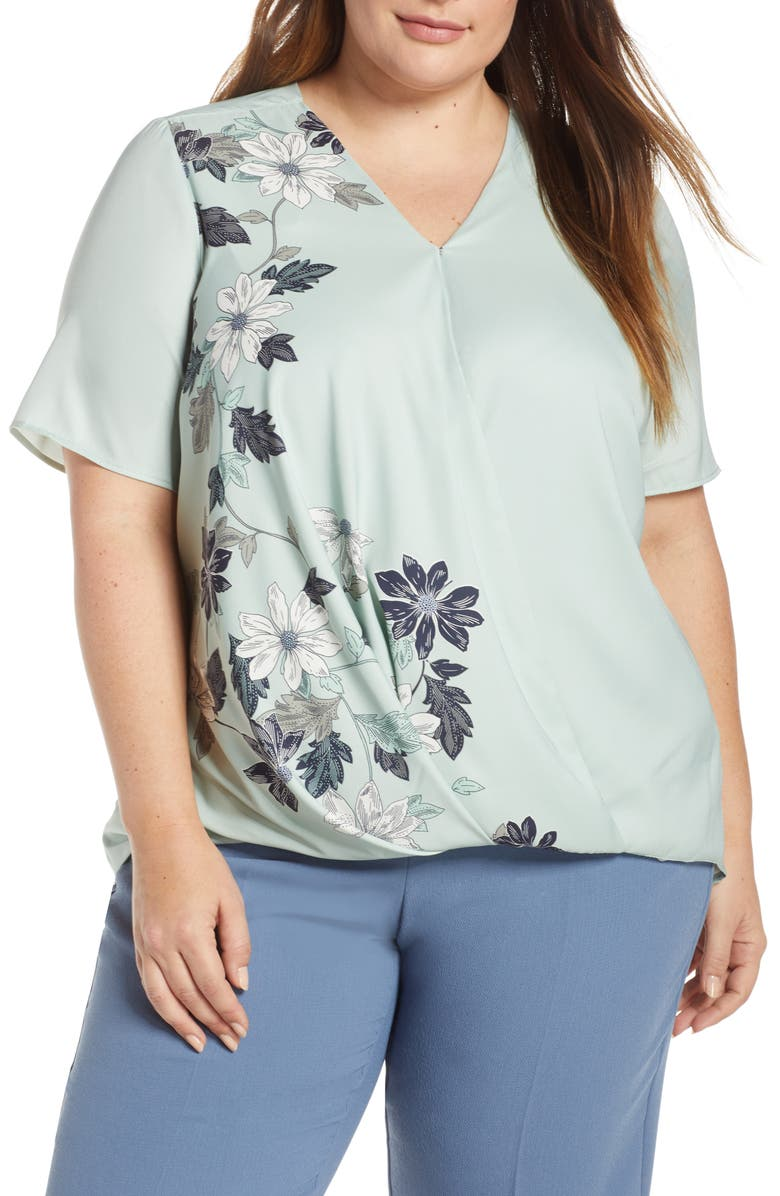 VINCE CAMUTO Floral Vines Crossover Top, Main, color, 309