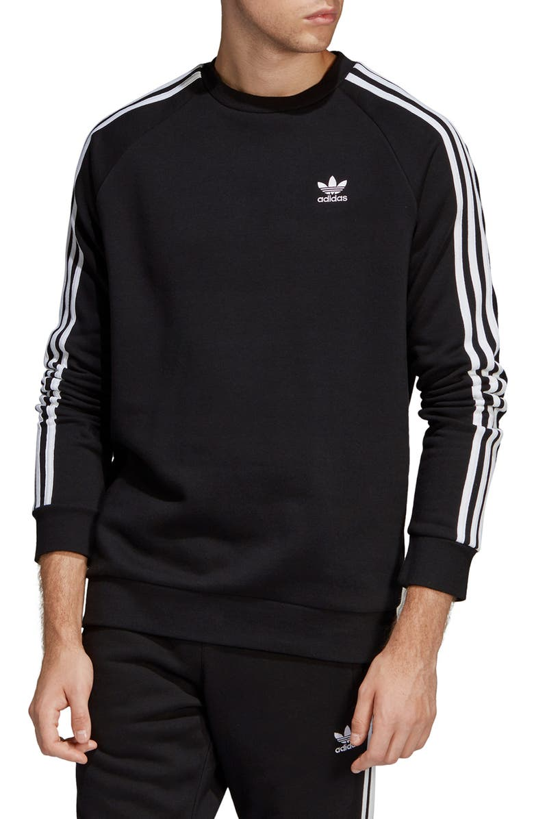 ADIDAS ORIGINALS 3-Stripes Crewneck Sweatshirt, Main, color, BLACK