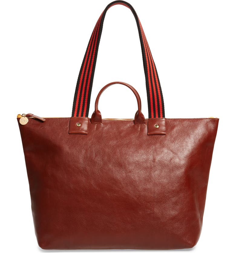 CLARE V. Claire V. Le Zip Leather Tote, Main, color, MAHOGONY RUSTIC