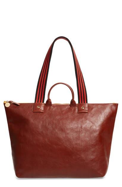 Clare V Claire V. Le Zip Leather Tote In Mahogony Rustic