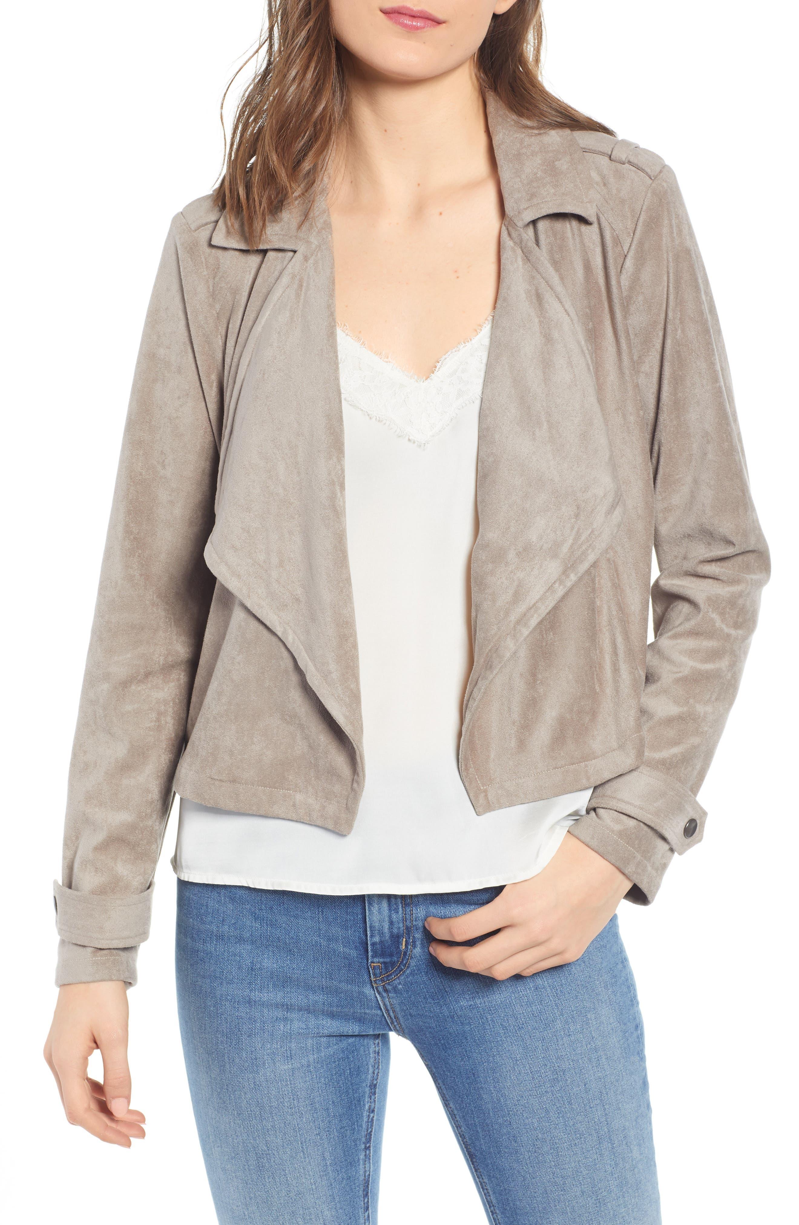 Robin Drape Front Faux Suede Jacket, Main, color, 020