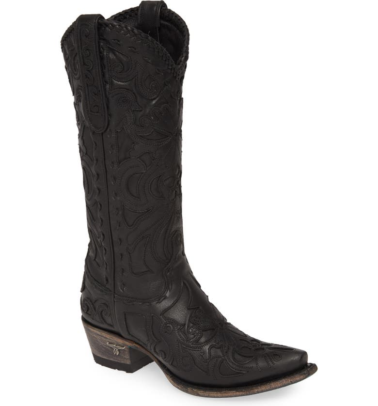 LANE BOOTS Robin Western Boot, Main, color, BLACK LEATHER