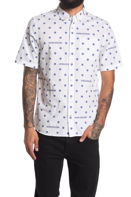 Image of Scotch & Soda Fil Dotted Short Sleeve Regular Fit Shirt
